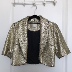 Anthropologie Champagne colored metallic Bolero